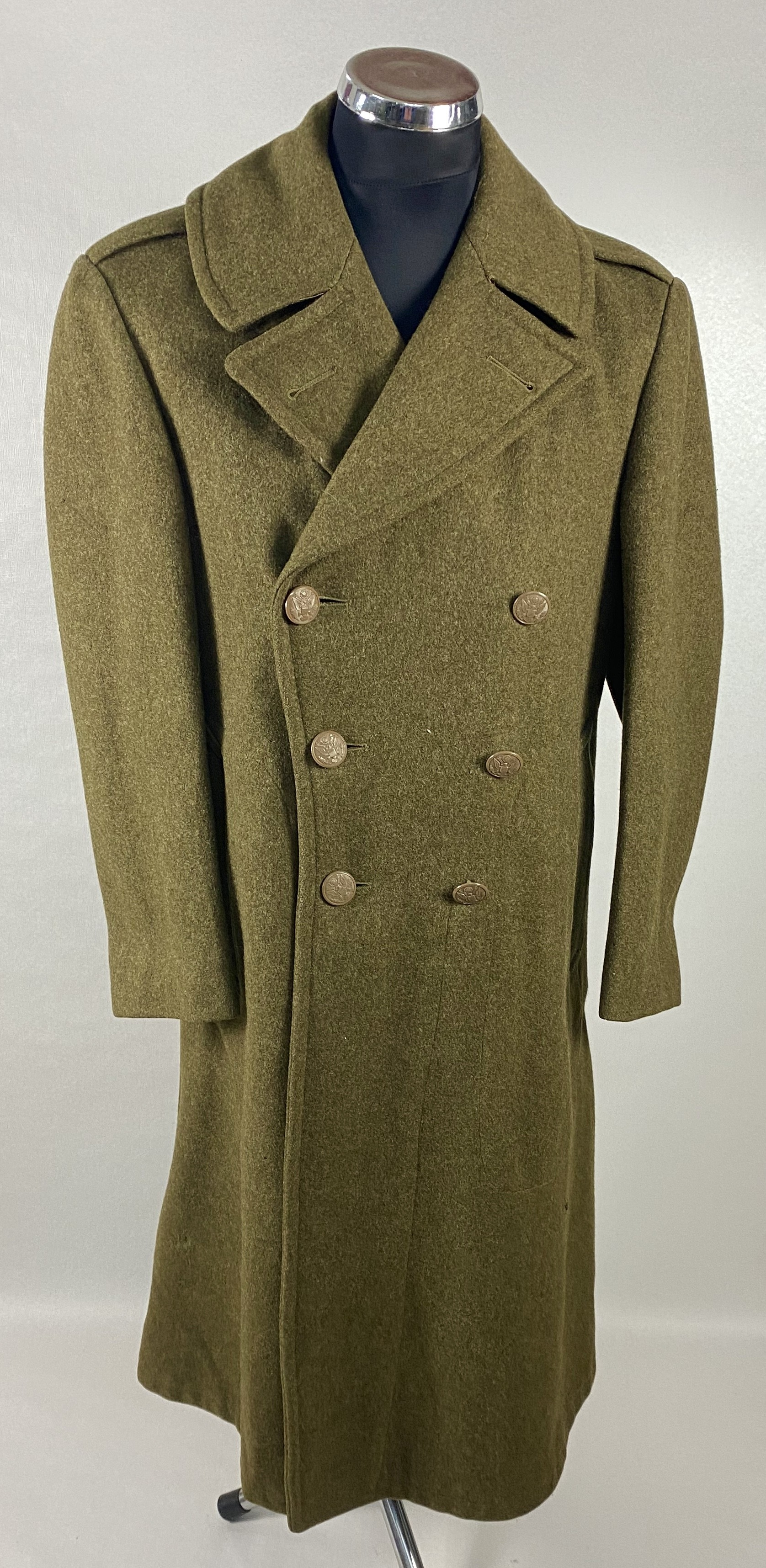 UN-OVERCOAT WOOL MELTON OD US ARMY ROLL COLLAR M39 BOTONES PASTA
