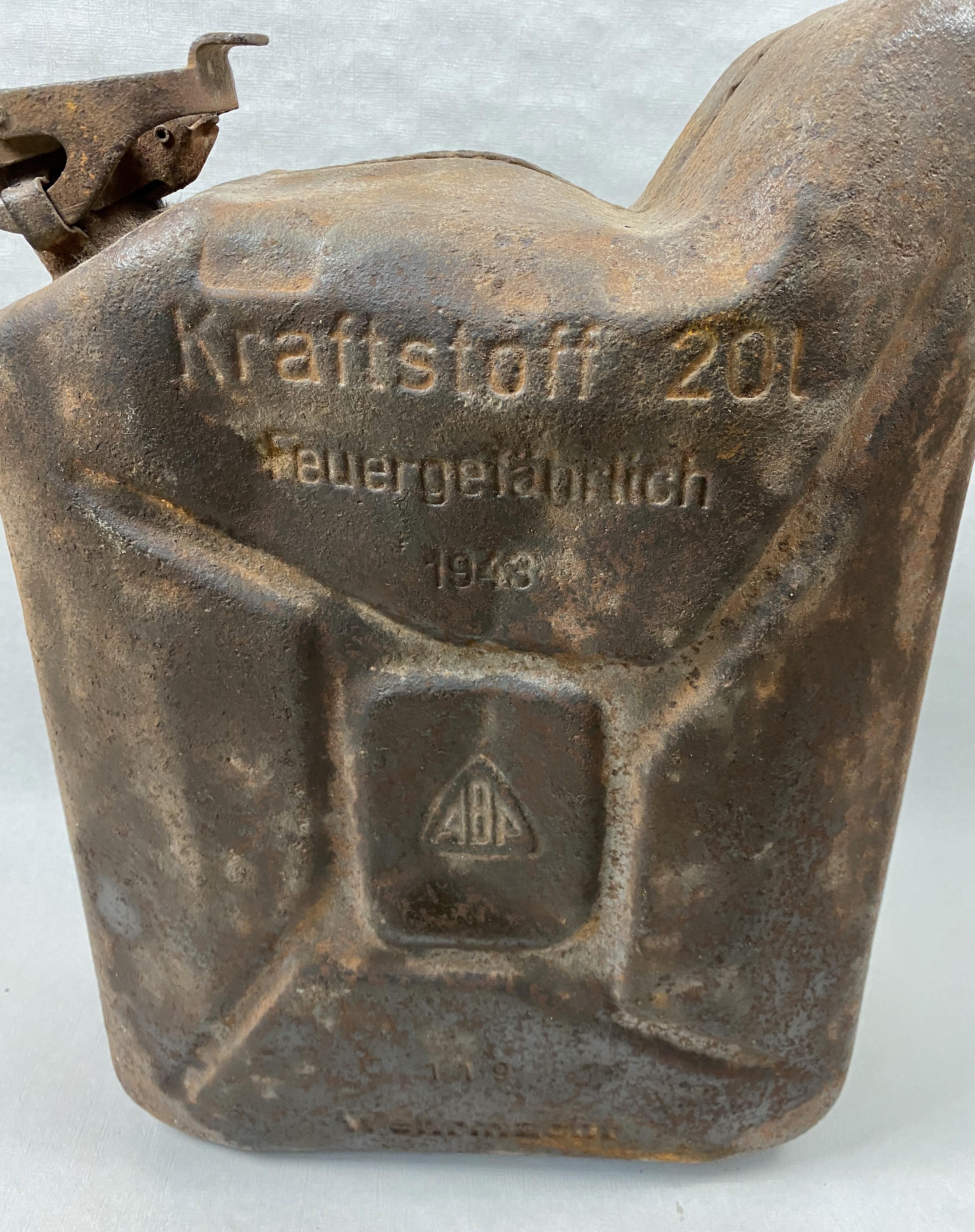 GERMAN JERRYCAN KRATTSTOFF FEUERGEFÄHRLICH 1943 WWII GASOLINA  20 LITROS