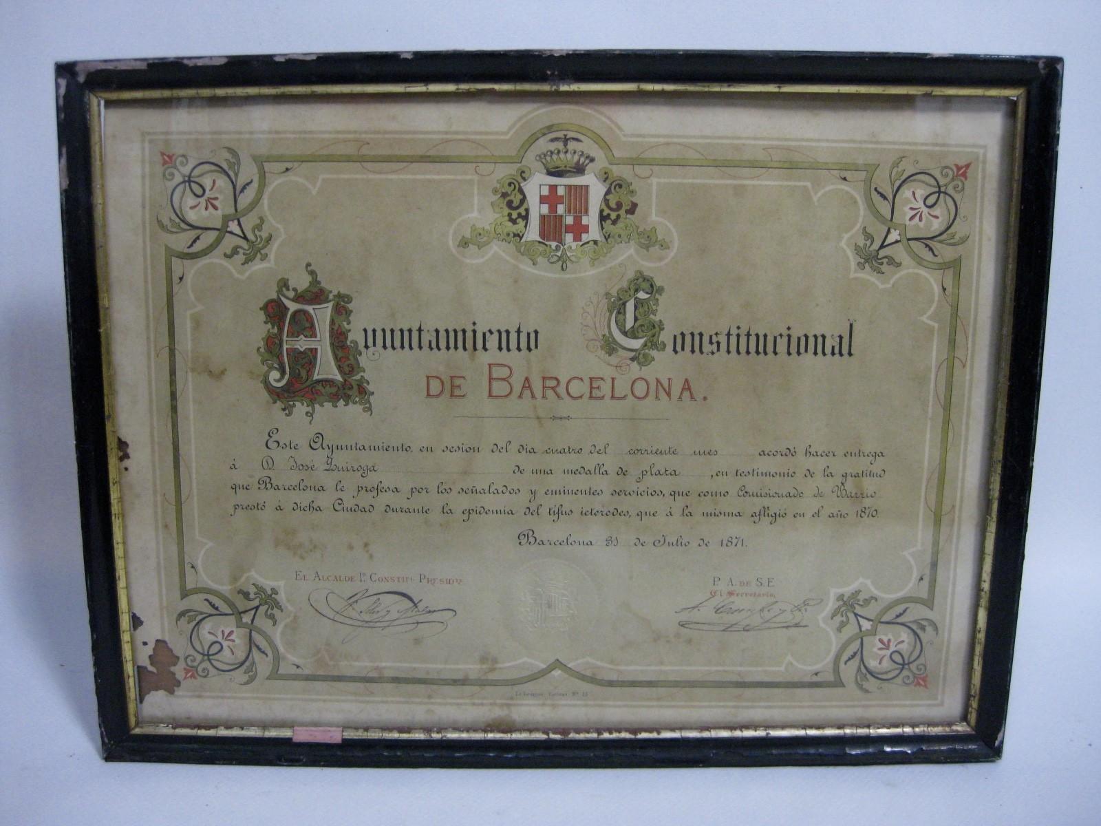 CONCESIÓN MEDALLA DE PLATA AYUNTAMIENTO CONSTITUCIONAL DE BARCELONA