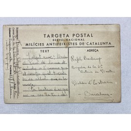 TARJETA POSTAL MILICIES ANTIFEIXISTES DE CATALUNYA 133 BRIGADA MIXTA EJÉRCITO POPULAR 1937