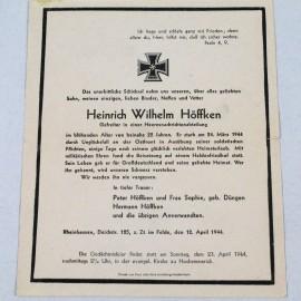 RECORDATORIO-HEINRICH WILHELM HÖFFKEN